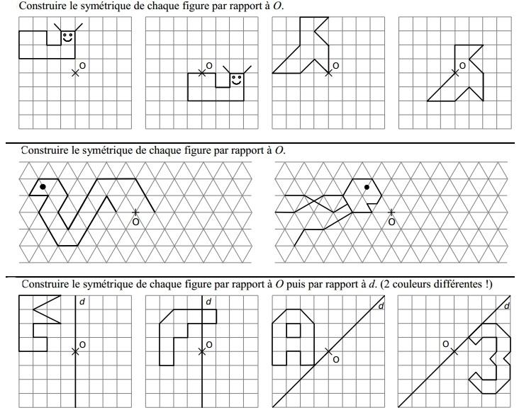 Préférence La symétrie centrale : exercices de maths corrigés en 5ème EK52