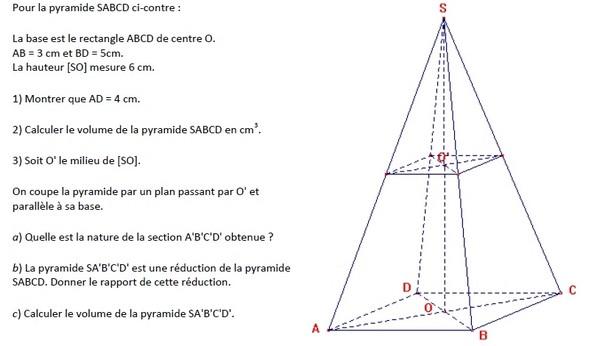 Exercices sur les sections de solides série 6 en 3ème