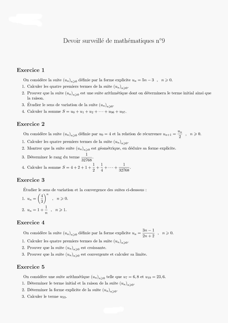 Maths Dm sur les suites urgent 1ère Mathématiques