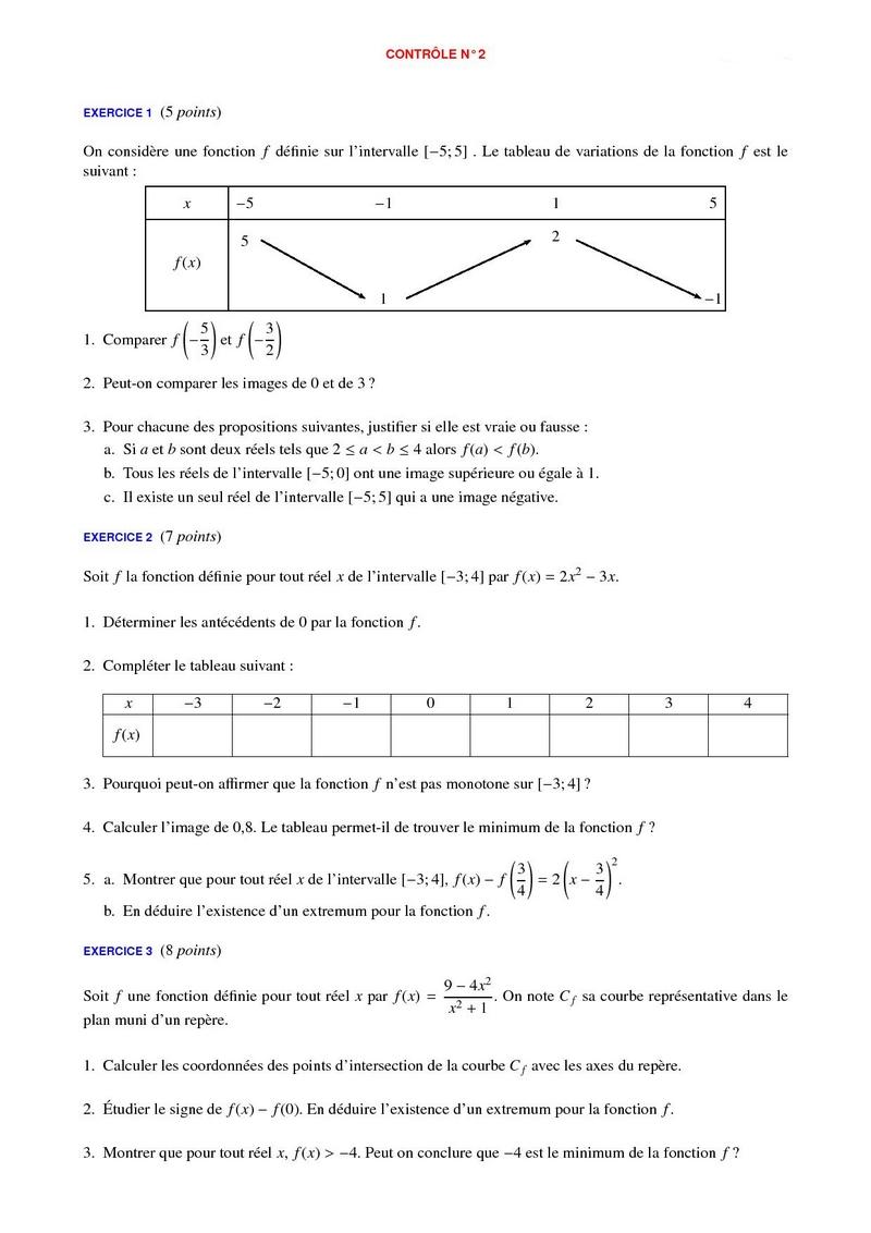 Contrôles de maths 2de et devoirs surveillés corrigés en ...