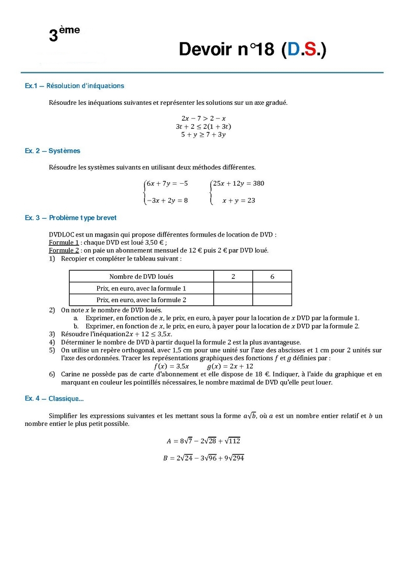 correction de devoir maison de math 3eme
