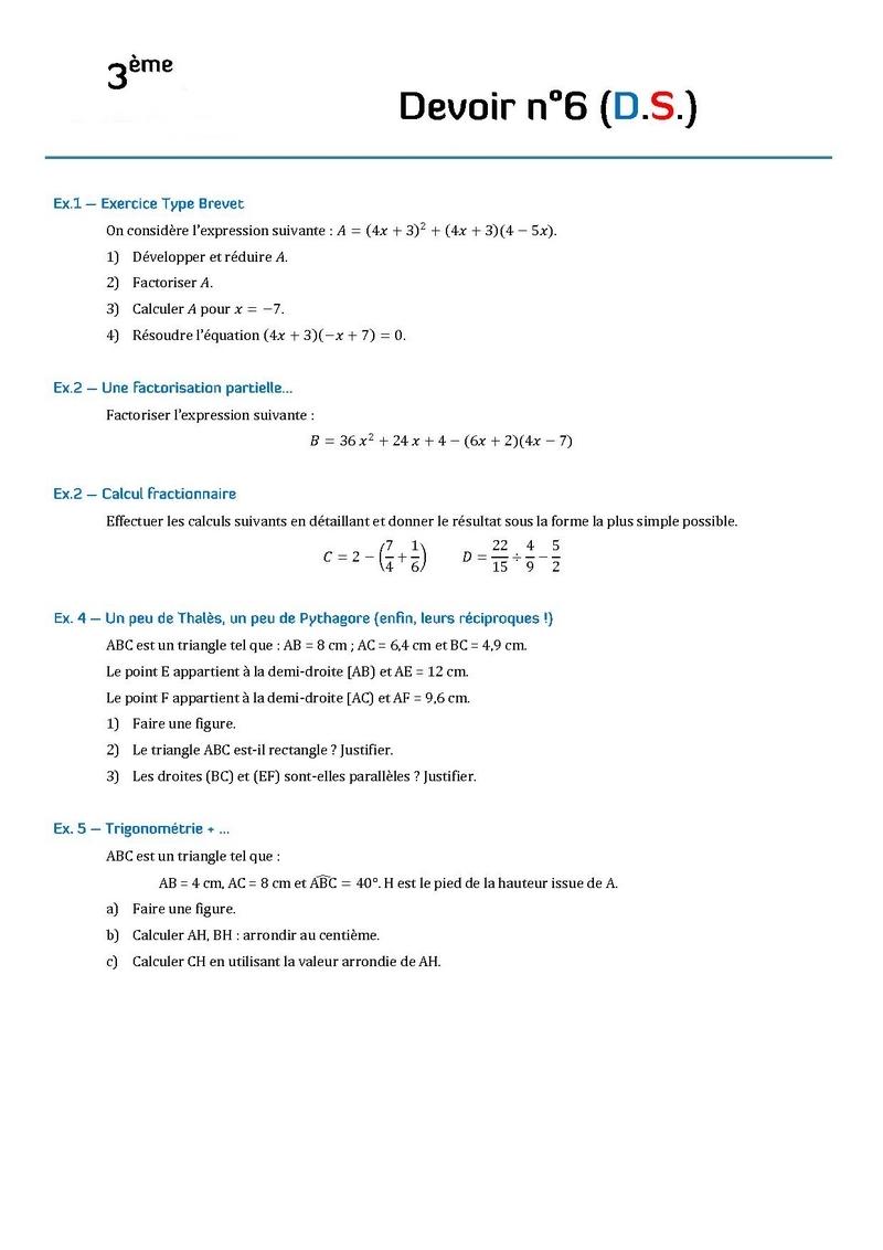 devoir maison maths 3eme