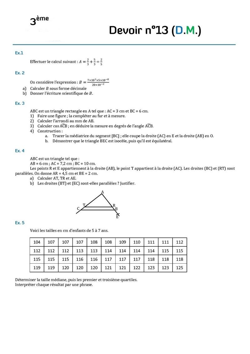 devoir maison de math 4eme geometrie