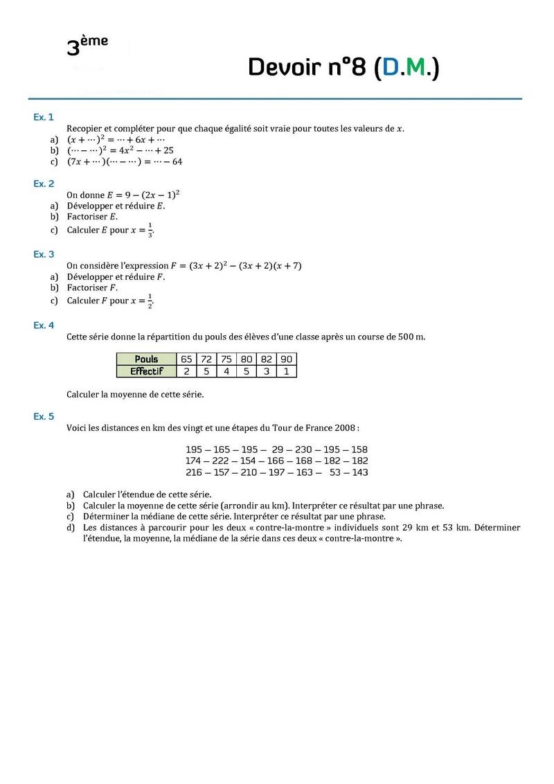 devoir maison de math 4eme calcul litteral