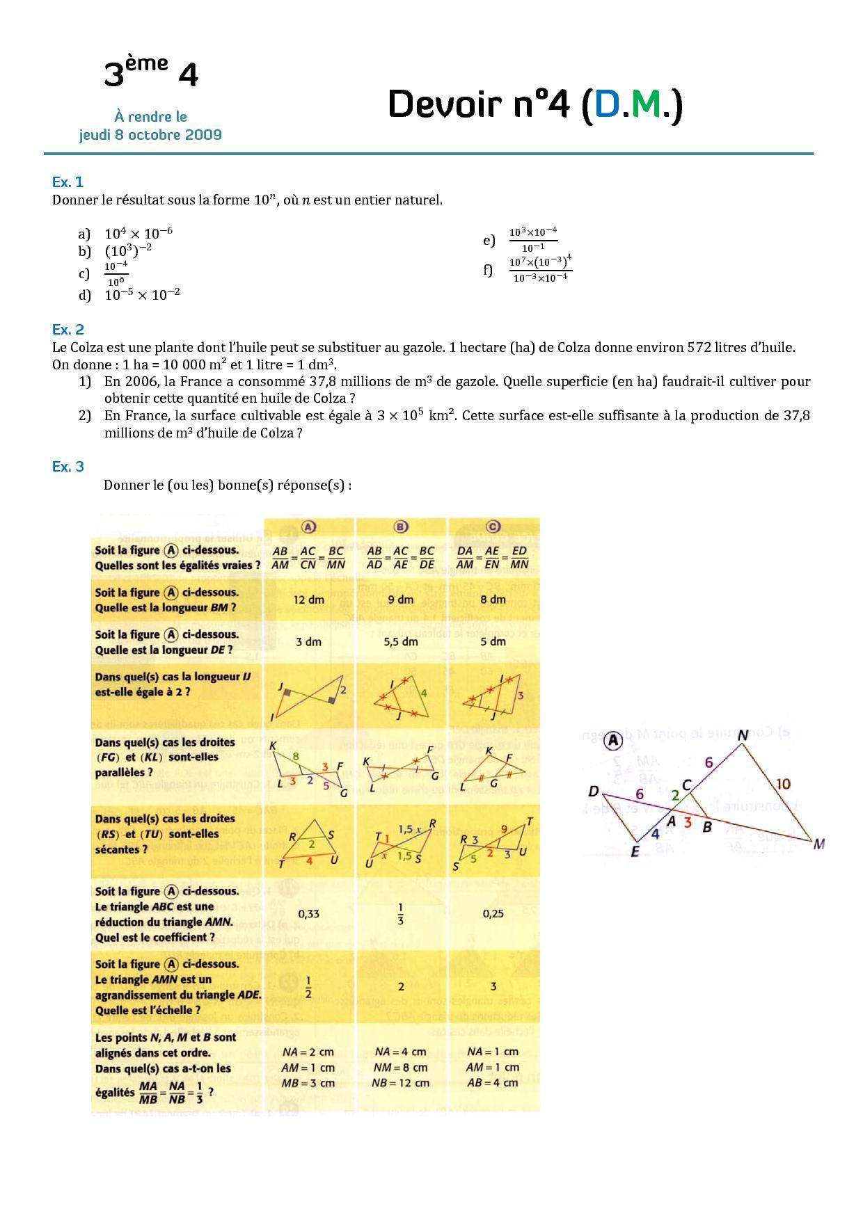Puissance Seconde Maths Thales Puissances