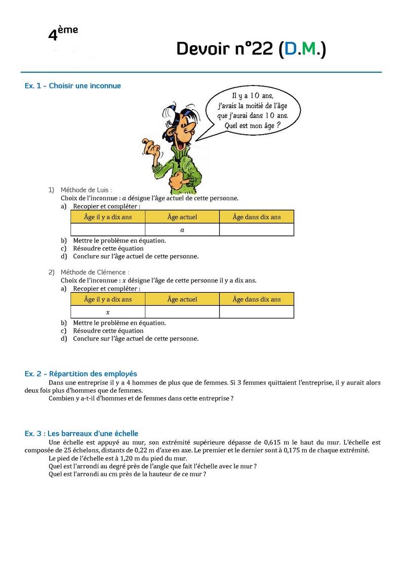 Contrôles de mathématiques en quatrième (4ème) et devoirs ...