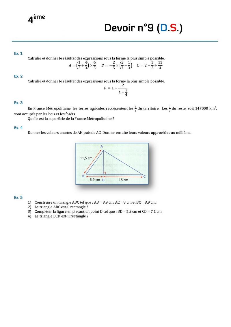DEVOIR DM MATH 4ème Mathématiques