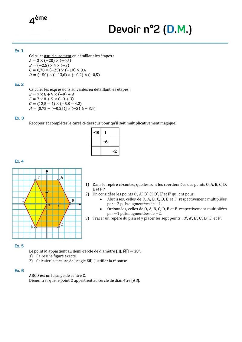 calcul nombre relatif 4ème Mathématiques