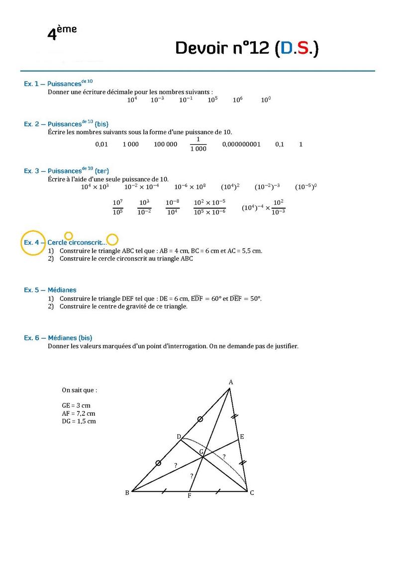 controle de maths 4eme pdf