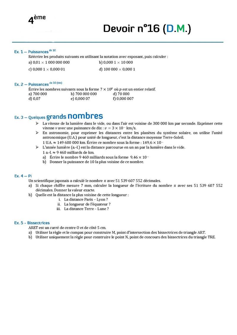 Contr les de math matiques en quatri me 4 me et devoirs for A la maison translation