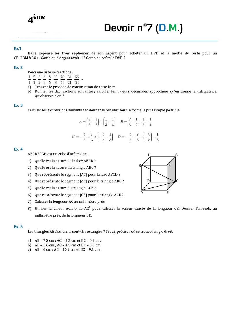 Devoirs - MathsPhysic