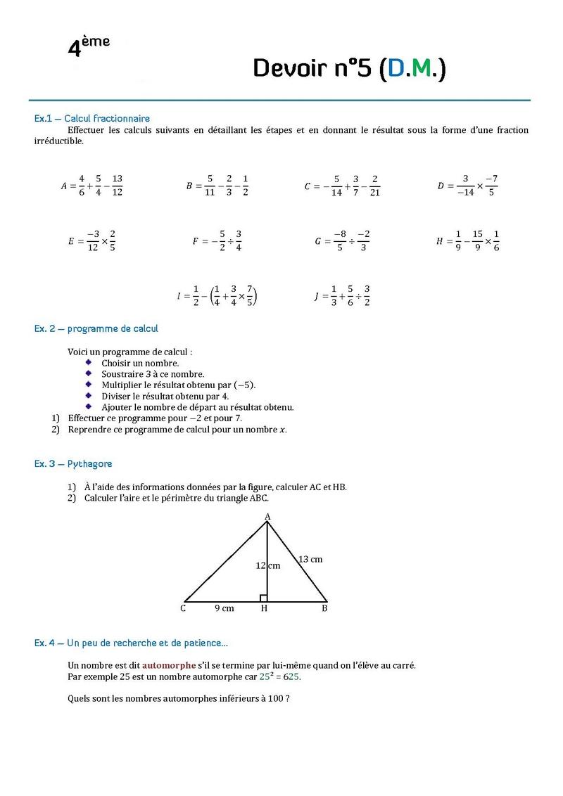 resultat exercice de math 4eme