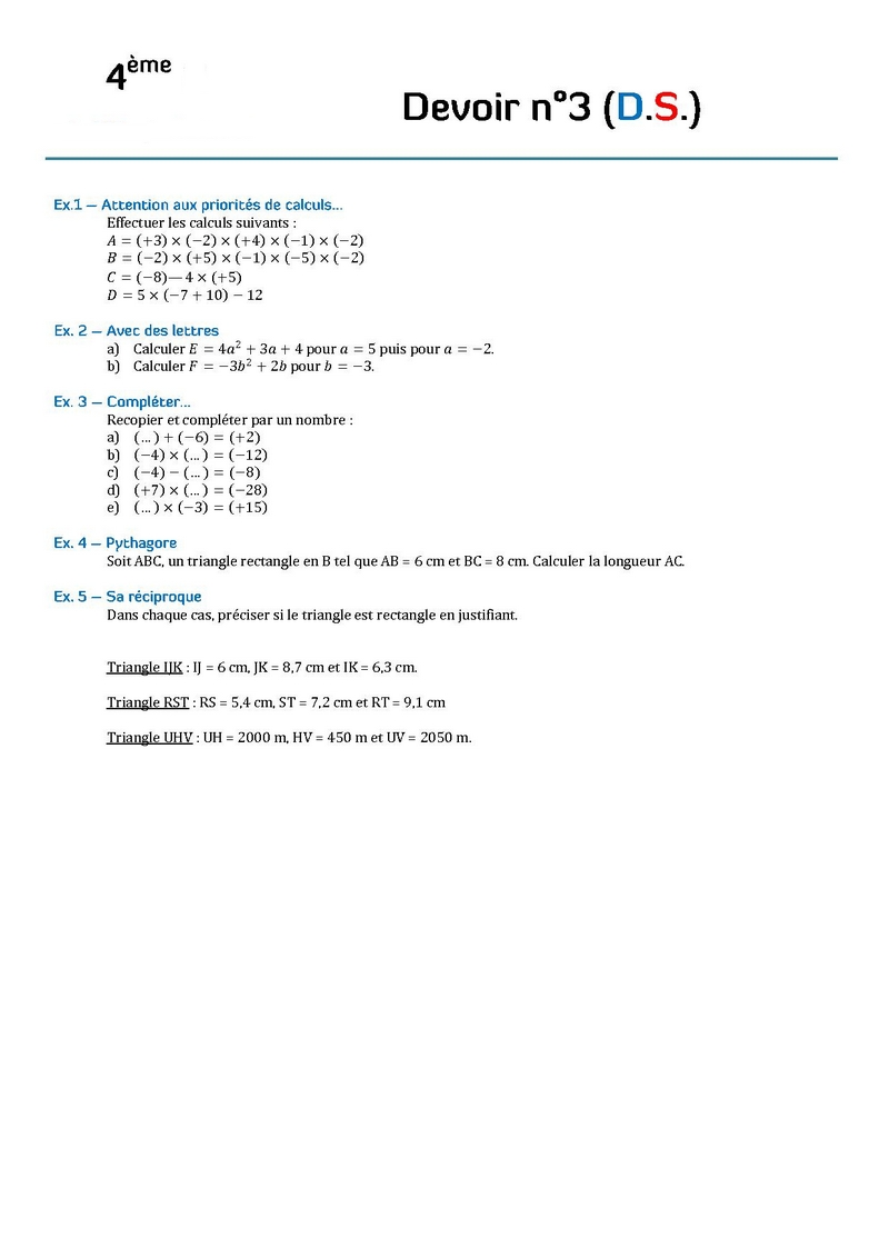 devoir de mathematique 4eme
