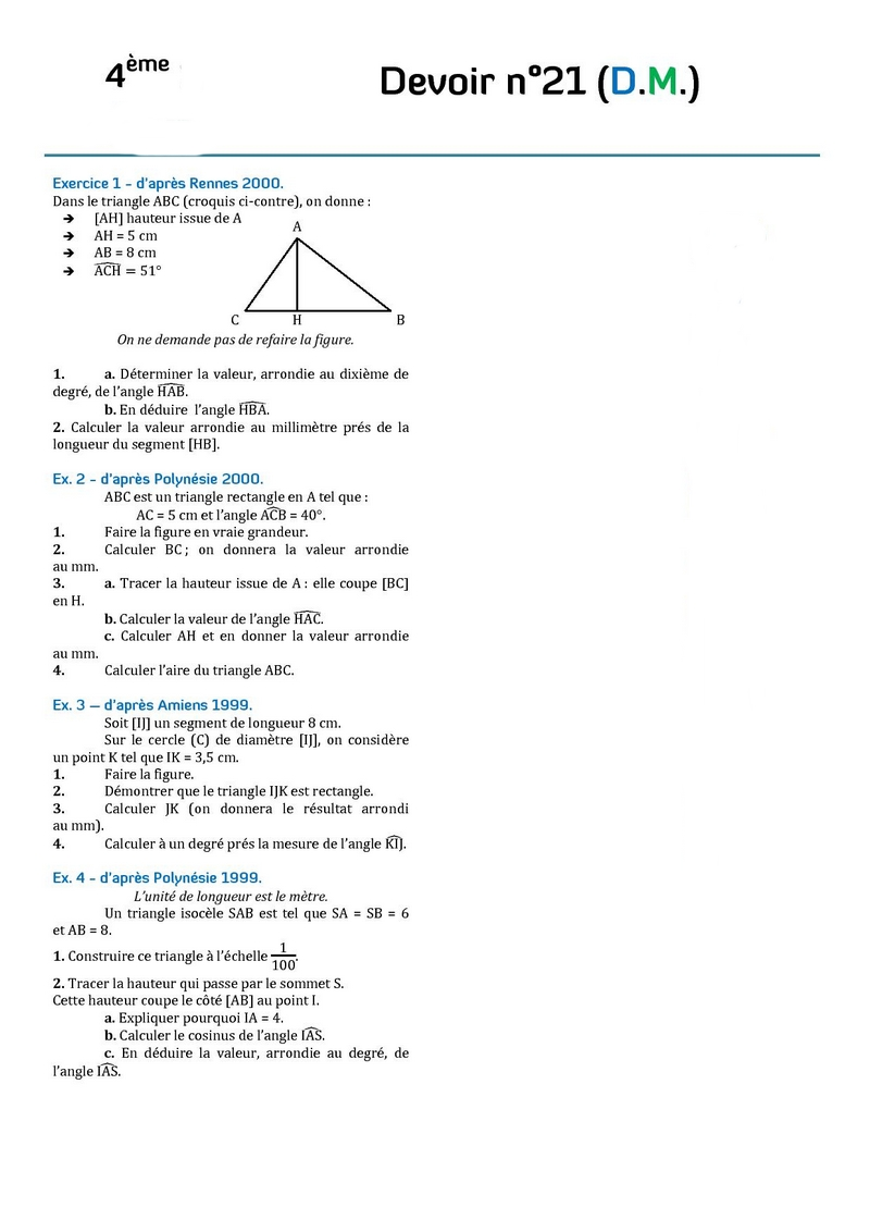 devoir maison de math 4eme equation