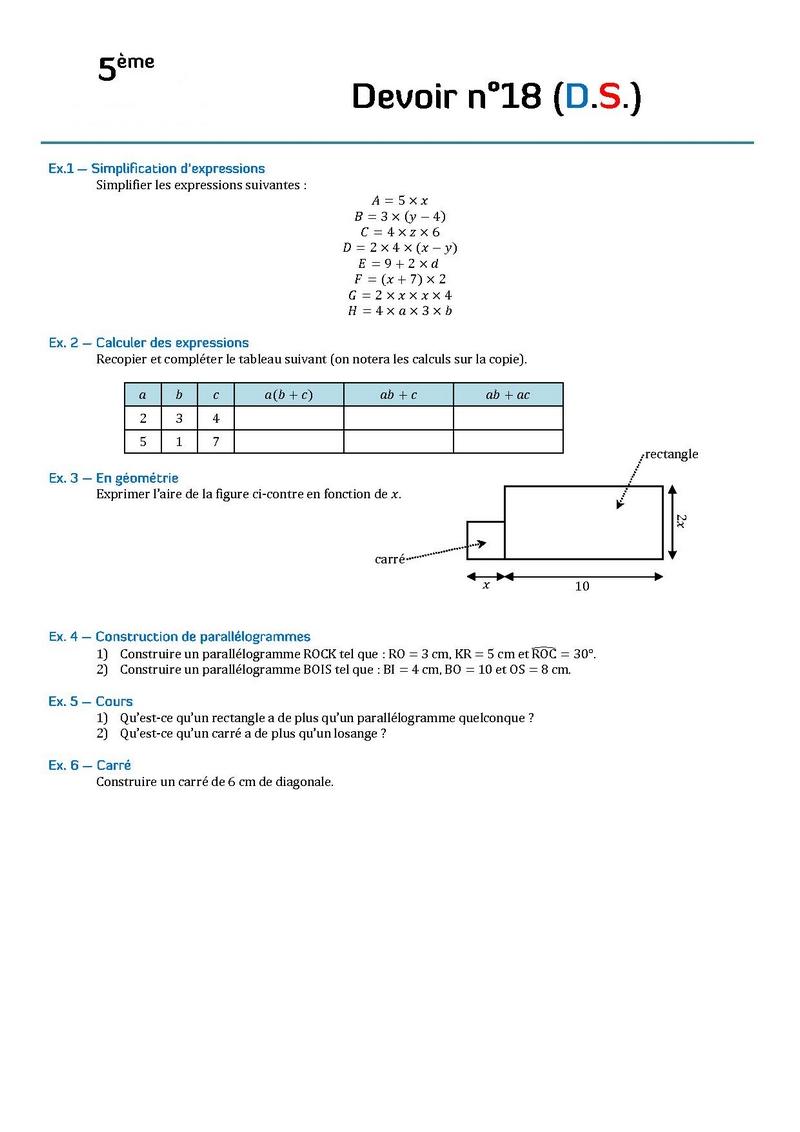 devoir de math 5eme gratuit