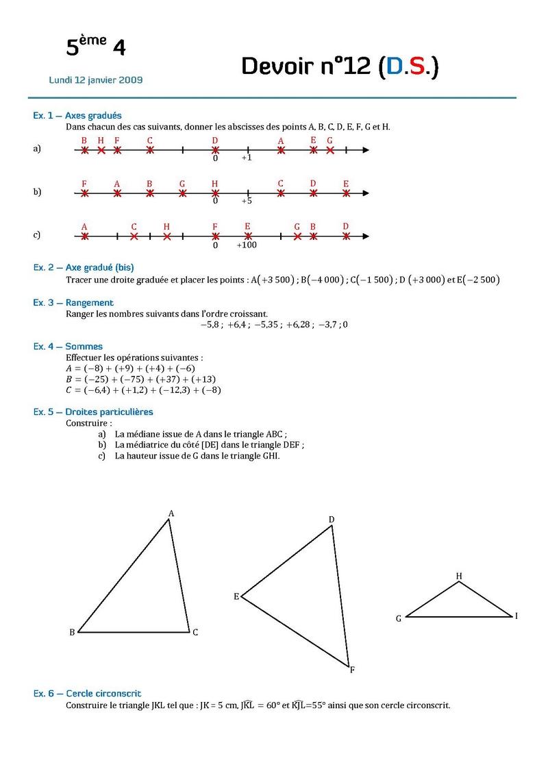 Maths exercice droite graduée 4ème Mathématiques