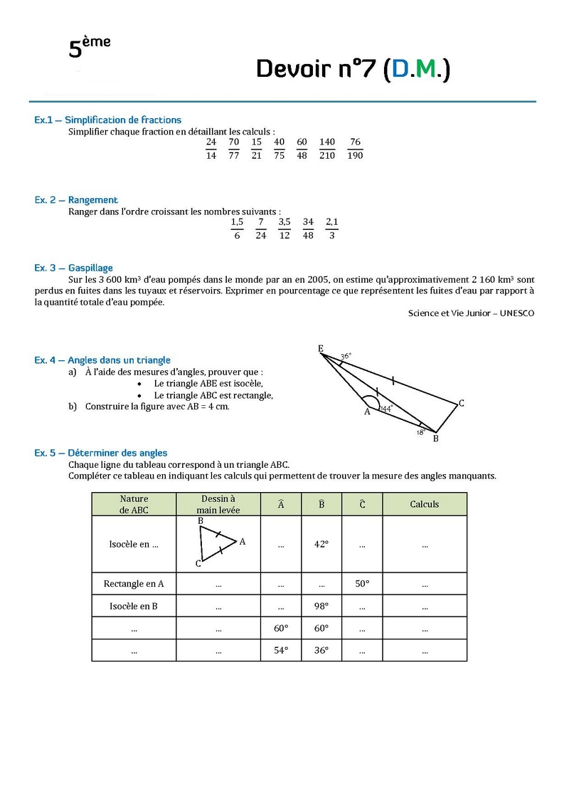devoir math 5eme