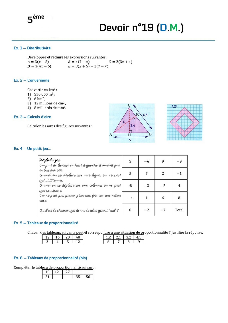 Contr le de math matiques en cinqui me 5 me devoirs for Calcul classe energetique maison