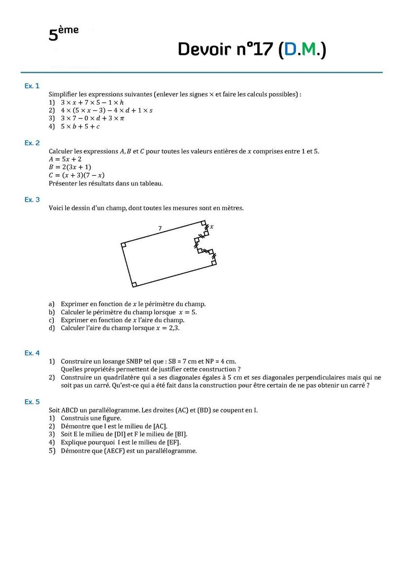 Calcul NL et périmètre 4ème Mathématiques