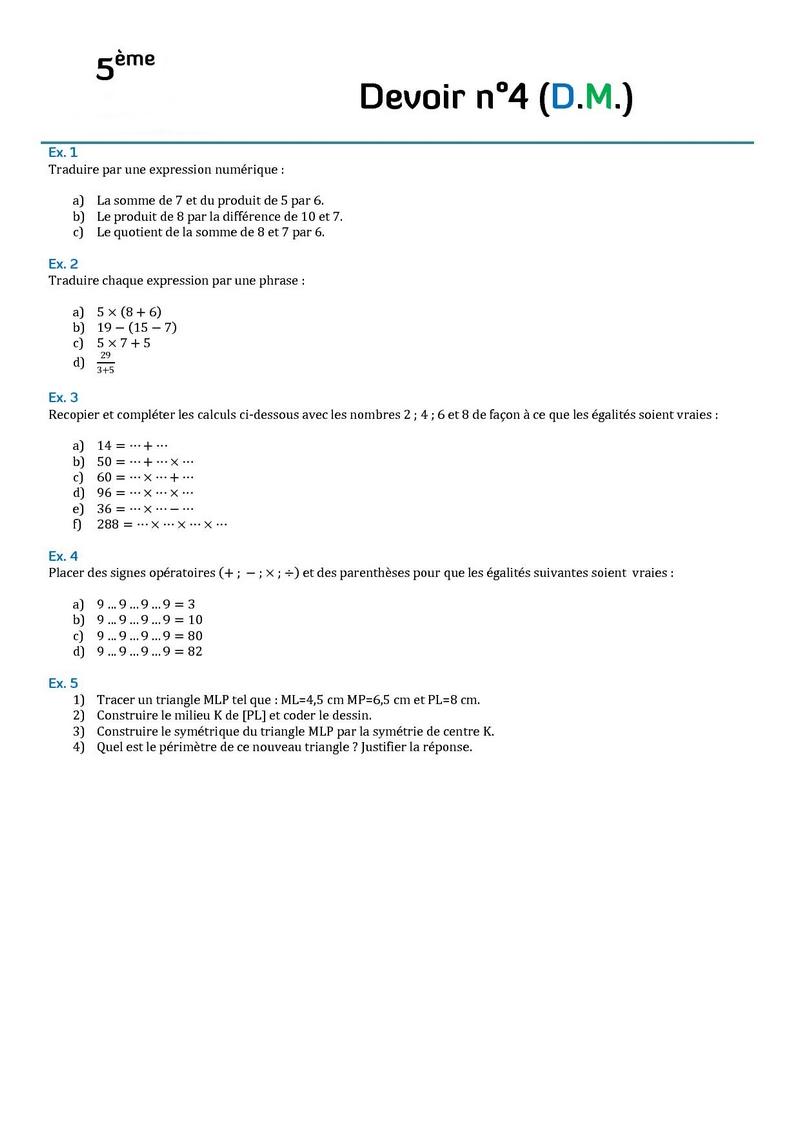 Controle De Mathematiques En Cinquieme 5eme Devoirs Surveilles Corriges De Mathematiques En Cinquieme