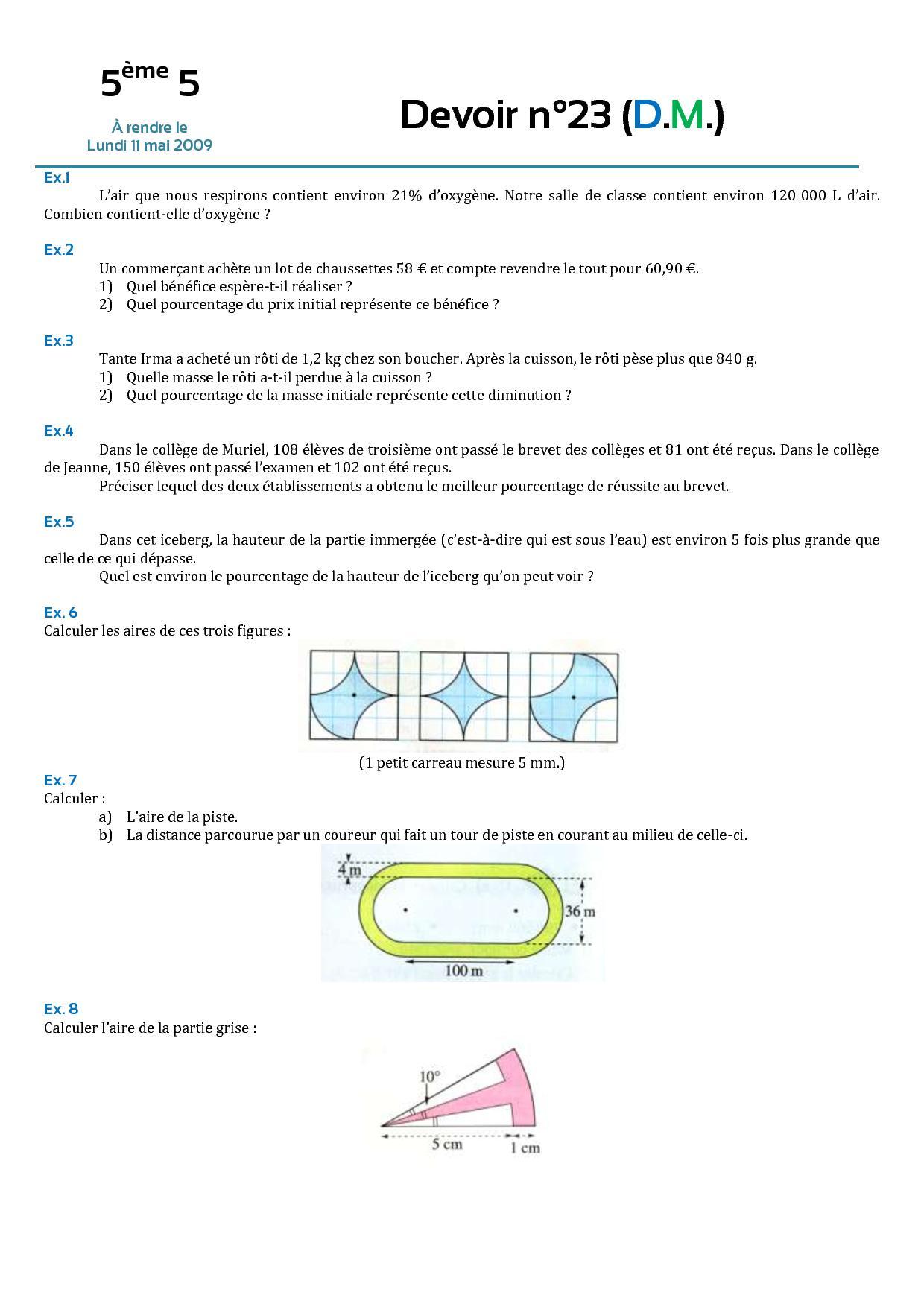 probleme perimetres et les angles 5ème Mathématiques