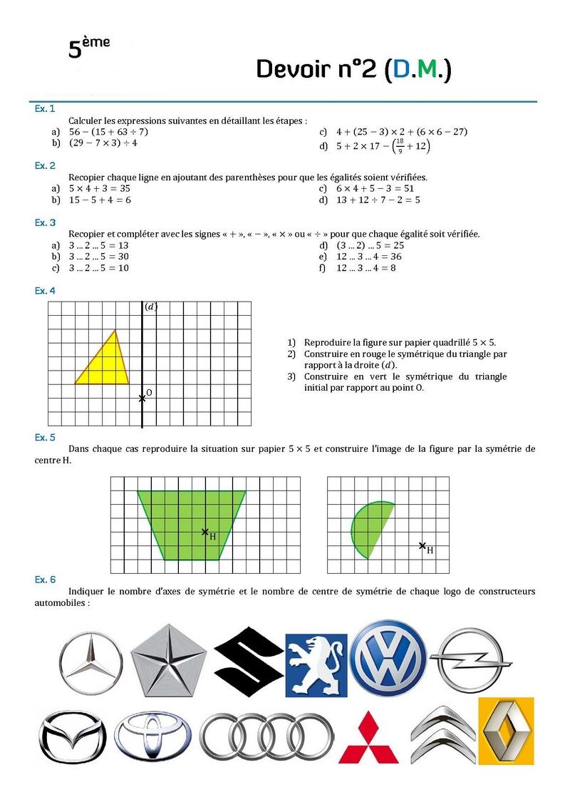 Contrôle de mathématiques en cinquième (5ème).Devoirs ...
