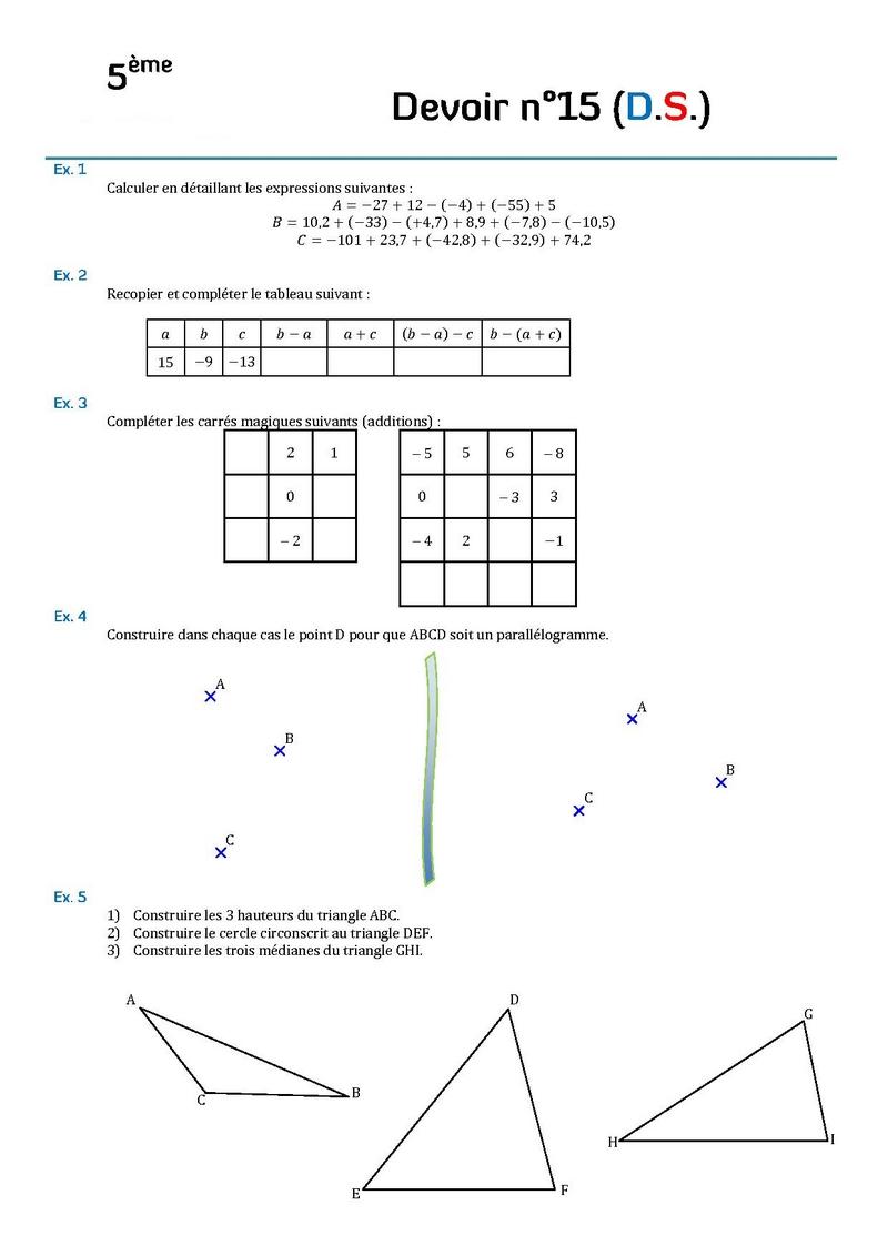devoir maison 5eme mathematiques