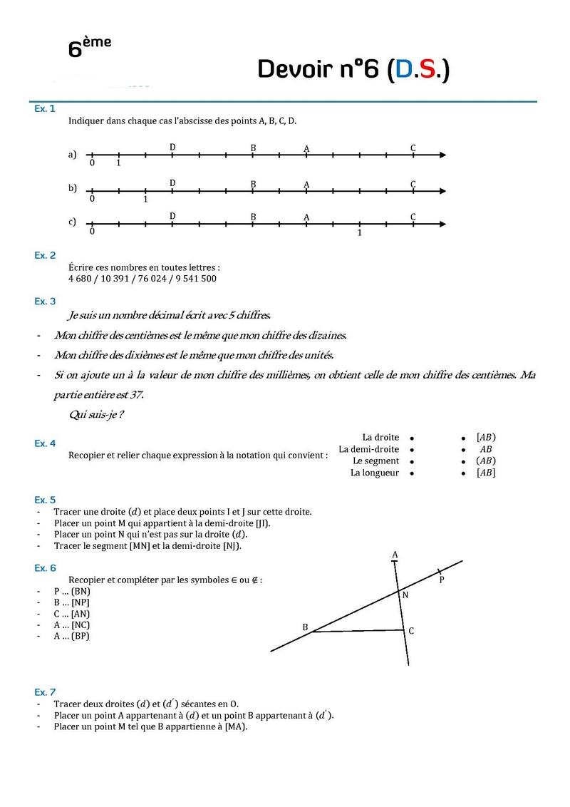 Bien connu Contrôles de mathématiques en sixième (6ème).Devoirs surveillés de  TF11