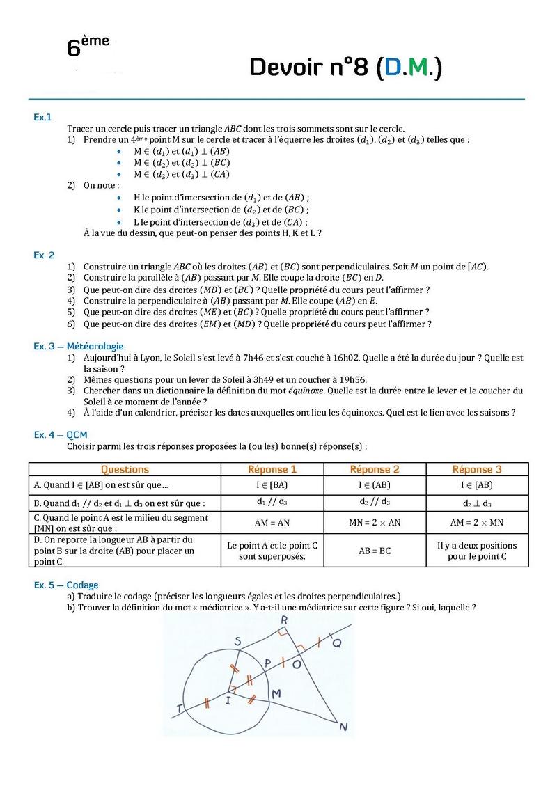 devoir 3ème 6ème Mathématiques