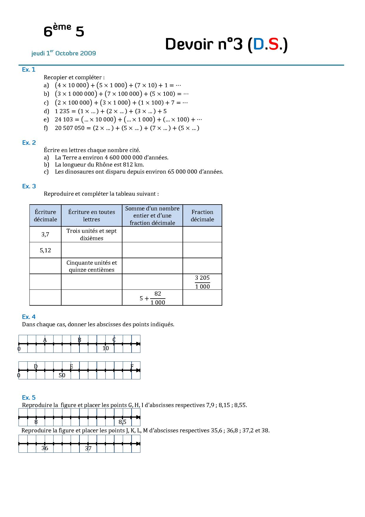 devoir maison maths 6eme 2015