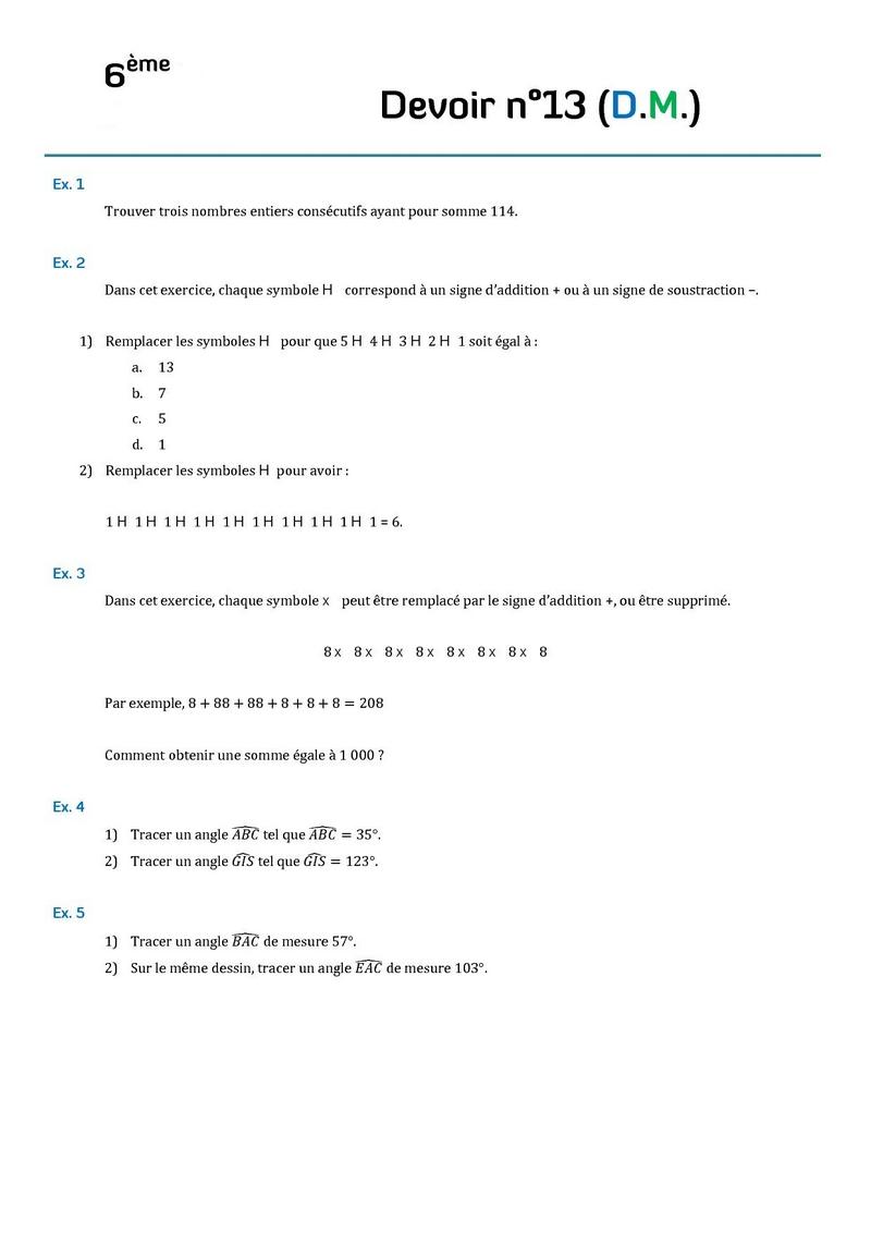 Assez Contrôles de mathématiques en sixième (6ème).Devoirs surveillés de  LF14