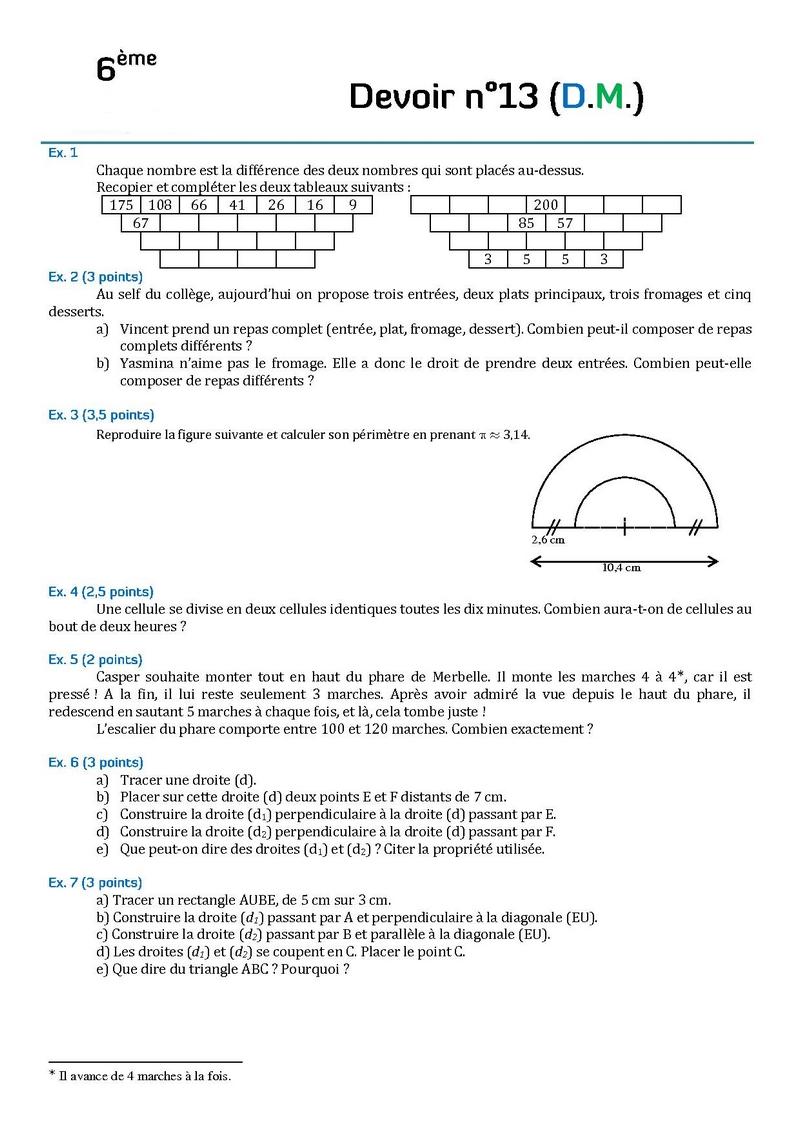 controle de maths 6eme