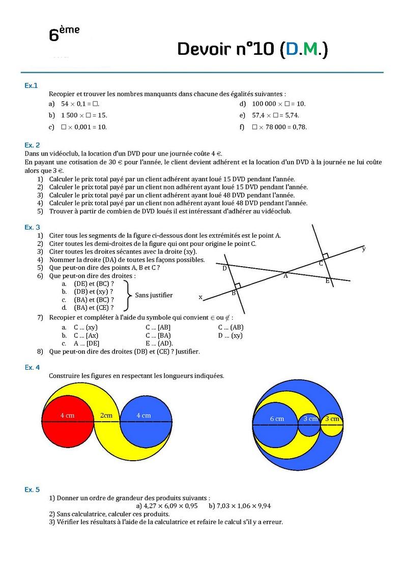 Contr les de math matiques en sixi me 6 me devoirs surveill s de maths sixi me - Evaluation de maison gratuite ...