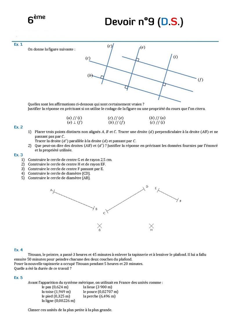Controles De Mathematiques En Sixieme 6eme Devoirs Surveilles De Maths Sixieme