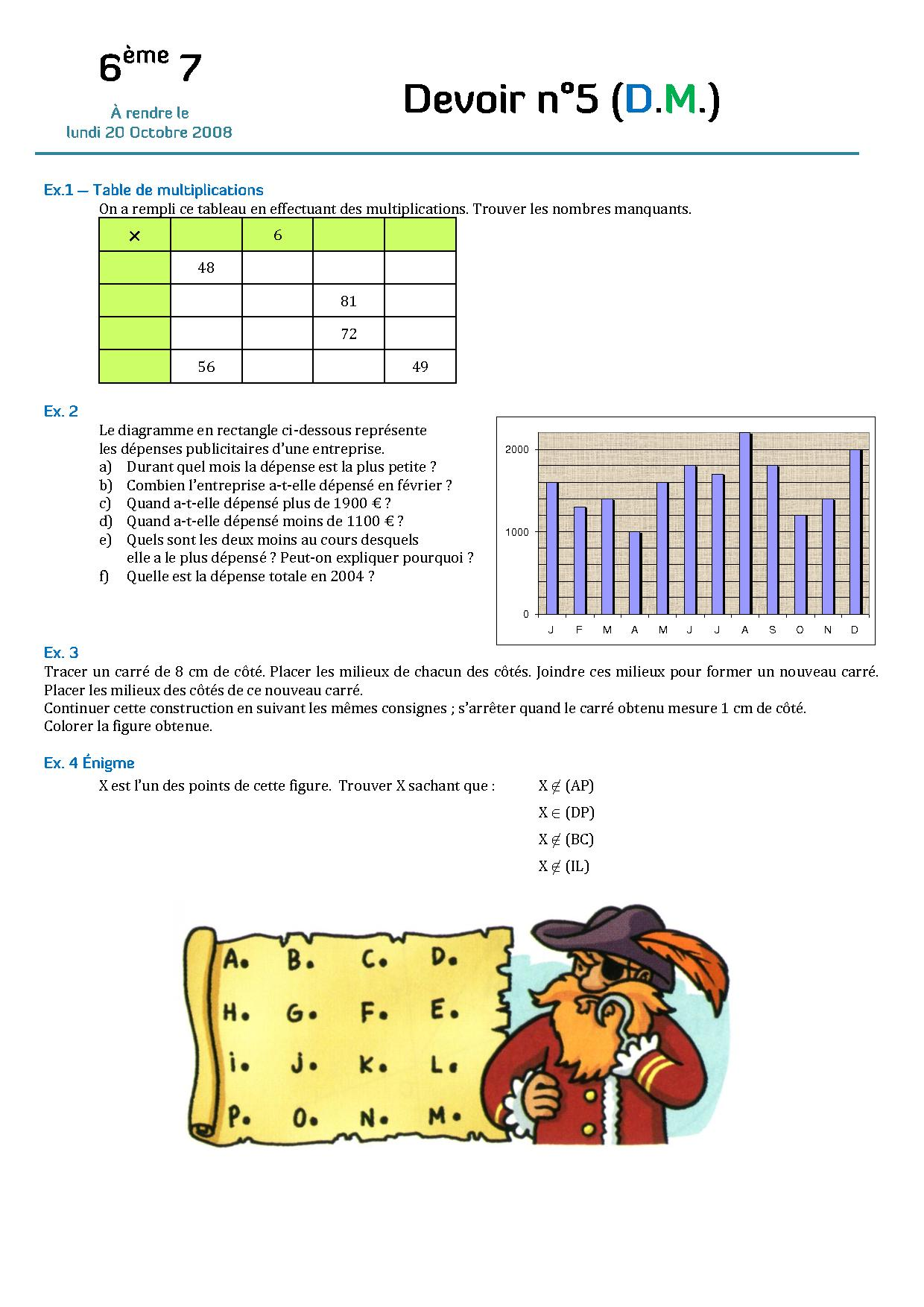DM de maths noté pour lundi. Niveau 6eme. Merci ...