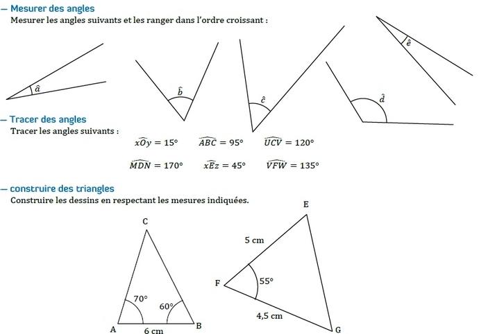 Angles et rapporteur. : exercices en 6ème.