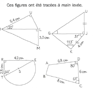 Constructions géométrique. : exercices en 6ème.