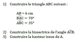 Construction - triangle, bissectrice, hauteur. : exercices en 5ème.