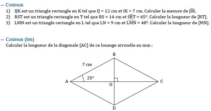 Le Cosinus D Un Angle Aigu Exercices De Maths En 4eme