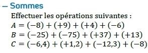 Somme de nombres relatifs. : exercices en 5ème.