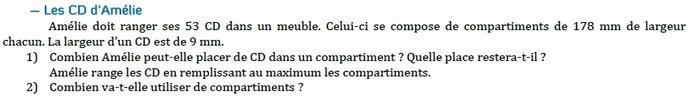 Problème - calculs. : exercices en 6ème.