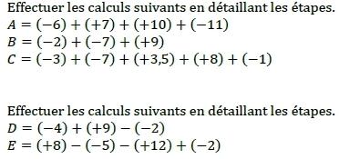 Calculs - nombres relatifs. : exercices en 5ème.