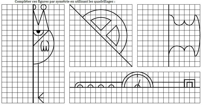 Constructions par symétrie axiale. : exercices en 6ème.