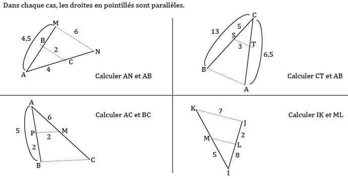 exercice sur le theoreme de thales 4eme