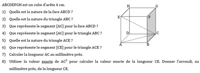 Volume et pythagore. : exercices en 4ème.