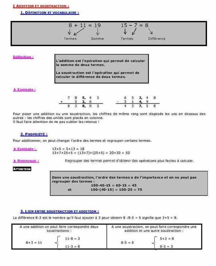 Cours sur l 39 addition la soustraction la multiplication for Multiplication cm1 en ligne