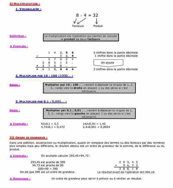 Cours sur l'addition, la soustraction, la multiplication ...