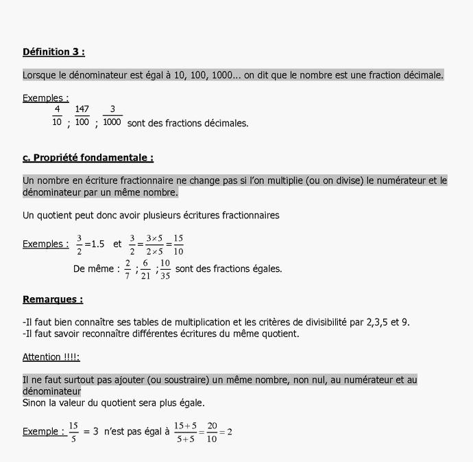 cours de math en sixieme