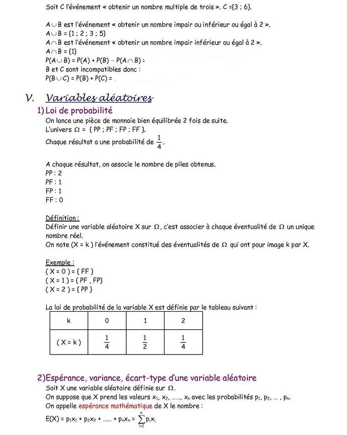 Probabilités : cours de maths en 1ère S à télécharger en PDF.