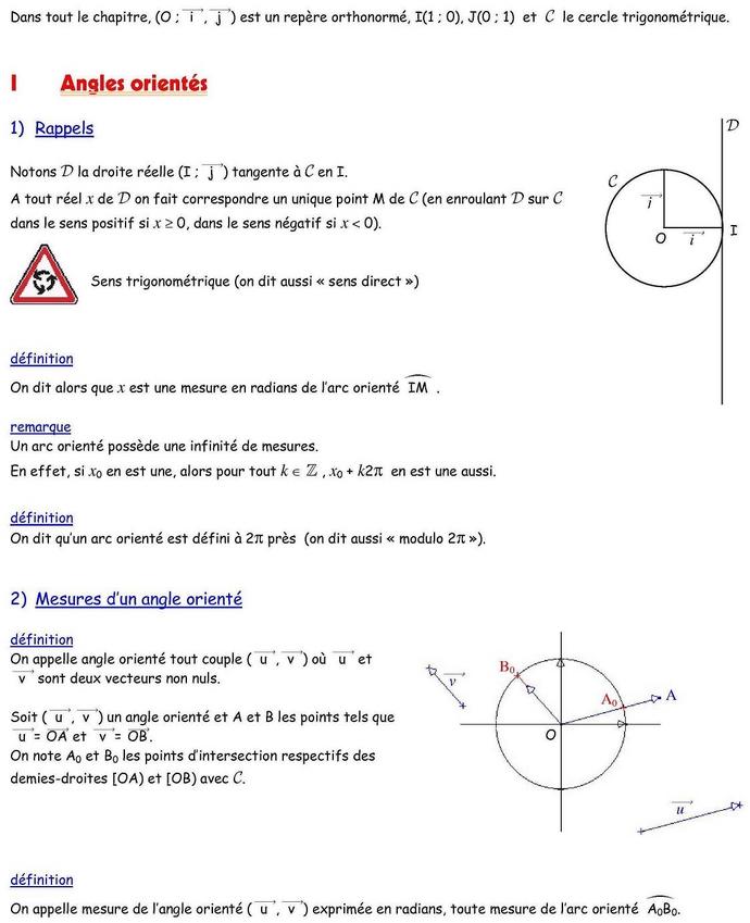 Angles orientés : cours de maths en 1ère S